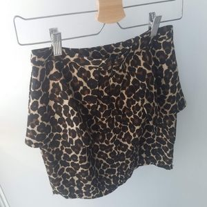 Leopard Cheetah Peplum Mini Pencil Skirt Silky